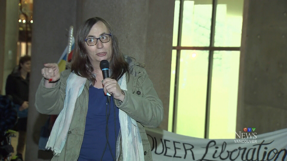 Trans activist Morgane Oger speaks at a rally outside the Vancouver Public Library on Jan. 10, 2019.