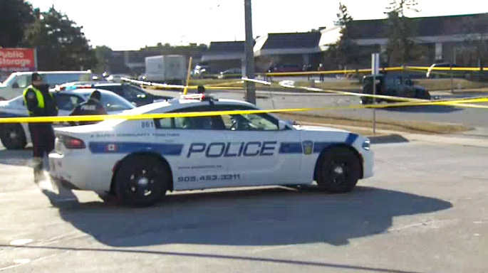 Peel police block off a scene in Mississauga where an officer was reportedly injured during a possible stolen vehicle investigating on January 11, 2019.