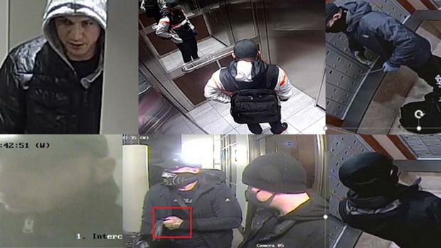 Suspects wanted in connection with a series of mail thefts in Burnaby are seen in these images provided by the RCMP.