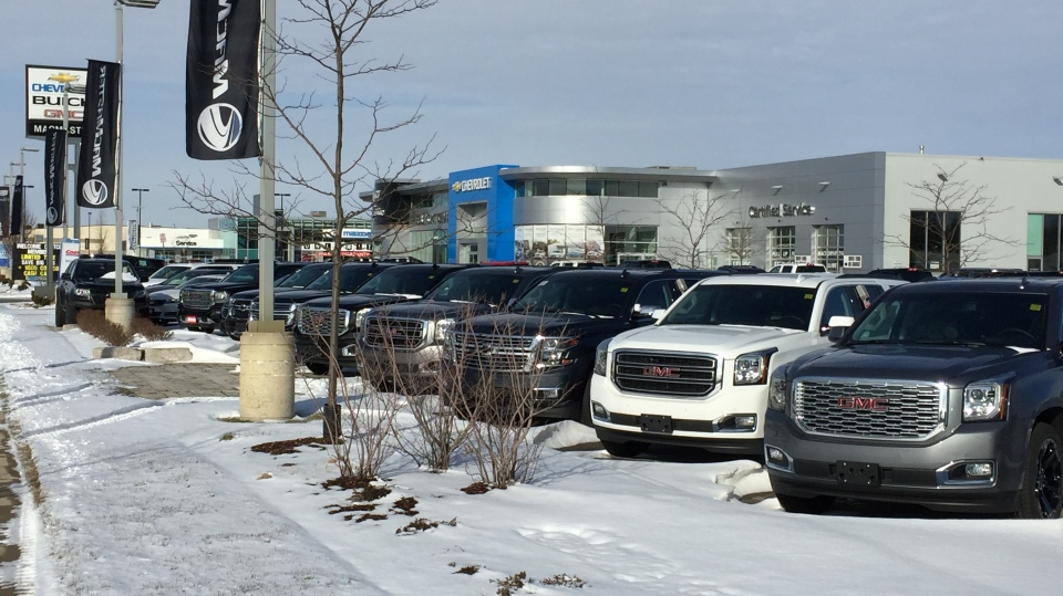 GM vehicles sit on a dealership lot in London, Ont. on Friday, Jan. 11, 2019. (Bryan Bicknell / CTV London)