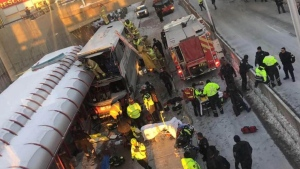 Double Decker bus crash at Westboro station January 11, 2019
