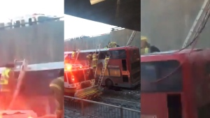 Firefighters at the scene of a bus crash in Ottawa (@greatuncleRB / Twitter)