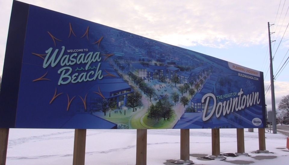 Wasaga Beach downtown sign as seen on Friday, Jan. 11, 2019 (CTV News/Roger Klein)