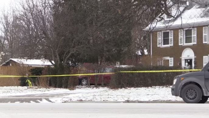 An investigation is underway after a car ended up on a front lawn of a Kitchener home Saturday morning.
