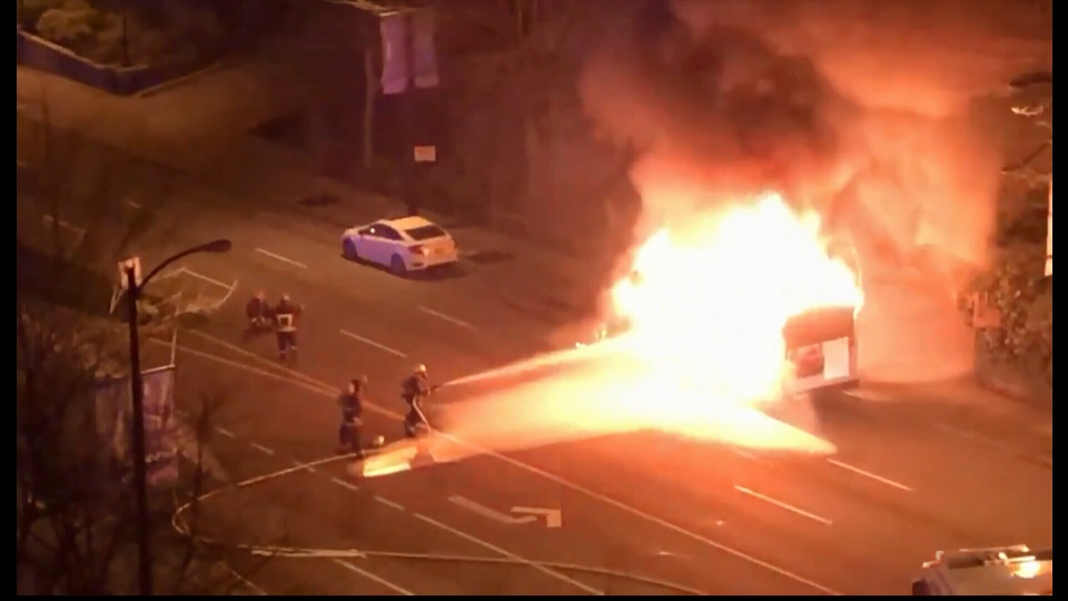 A shuttle bus burst into flames in front of Vancouver City Hall. Courtesy: Kevin Fales