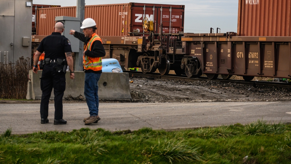 Delta police have been called to a major collision involving a train on Saturday afternoon. Courtesy Mark Teasdale