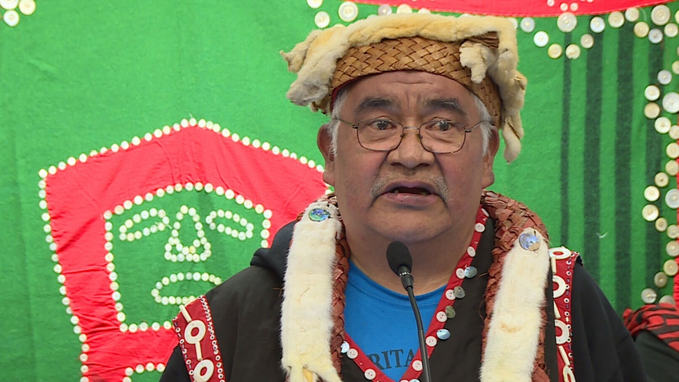 Chief Willie Moon, the elected and hereditary leader of the Dzawada'enuxw First Nation, speaks at a Jan. 10 press conference in Vancouver. (CTV News)