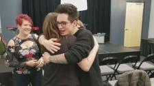 Alyssa Rose hugs Brendon Urie