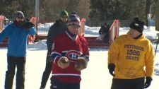 The 57-year-old has been raising funds for the Alzheimer's Society by skating for 19 hours and 26 minutes every December 15 for the past six years