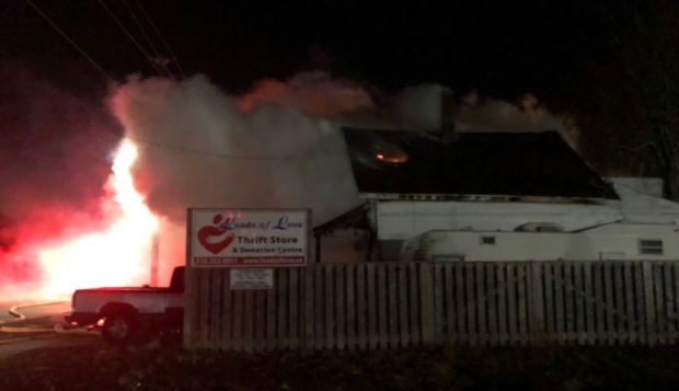 Firefighters on scene at a blaze on Colborne St