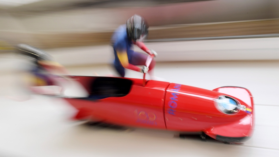 Andreea Grecu und Teodora Andreea Vlad from Romania compete during the women's bobsled World Cup race in Schoenau am Koenigsee, Germany, Saturday, Jan. 12, 2019. (Tobias Hase/dpa via AP)