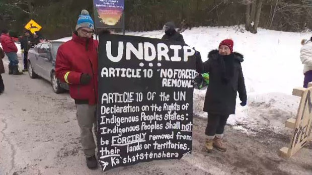 The participants were showing solidarity with the First Nations communities of northern British Columbia who are protesting the creation of a new natural gas project.