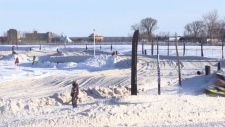Snowmobiles races in the Soo
