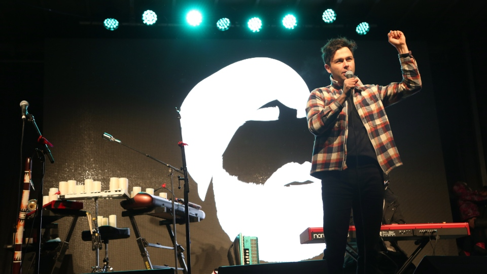 """Arkells perform during a Walk Off The Earth Memorial & Tribute Concert for Mike """"Beard Guy"""" Taylor in Burlington, Ont., on Jan. 13. THE CANADIAN PRESS/Peter Power"""