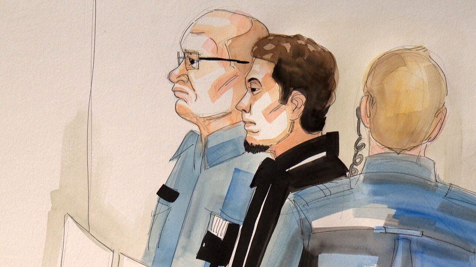 Jordan Taylor, shown in this court sketch, 'immediately agreed' that he would join Adams to speak in schools about the dangers of impaired driving.