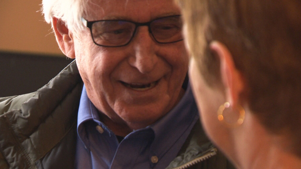 Bob Elfstedt speaks to his sister Shirley.