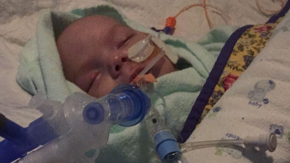 Baby Alysse recovers from an accidental fentanyl overdose at the University of Sherbrooke's Fleurimont Hospital in this undated photo. (Zabryna Delaney/GoFundMe)