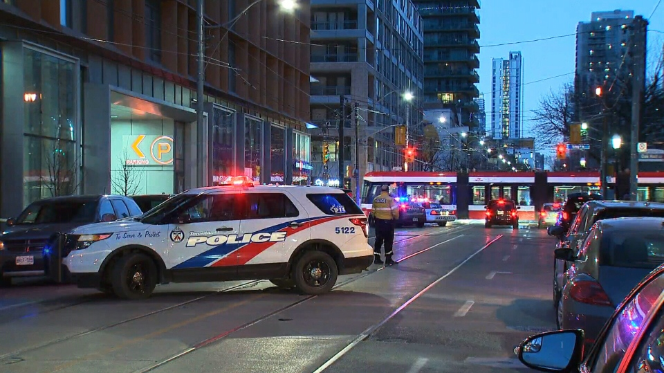 Toronto police block off an area on Church Street, between King and Front streets, after a man was shot in the afternoon of January 13, 2019.