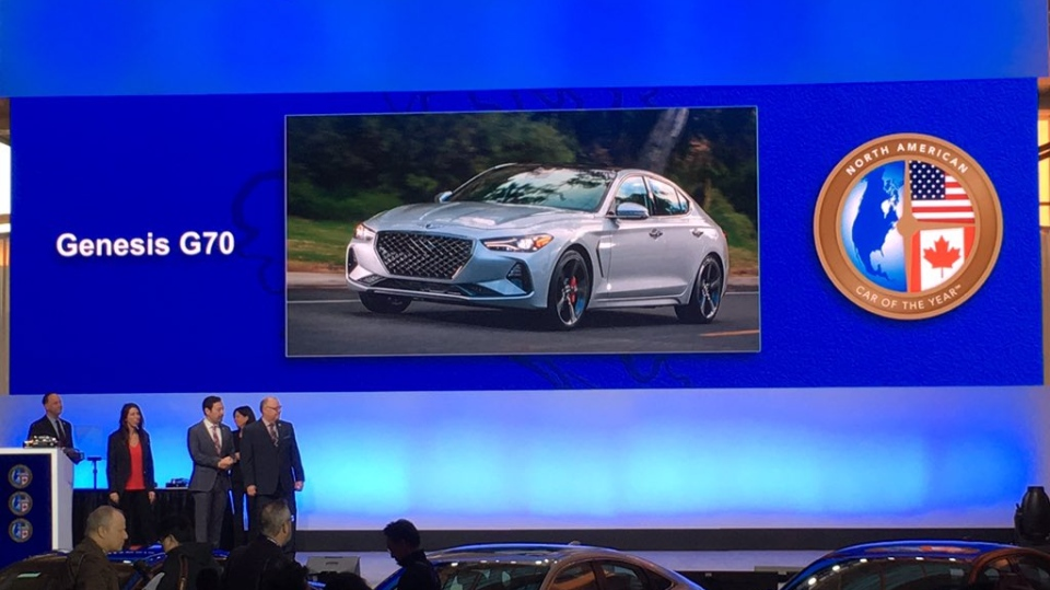 The Genesis G70 wins the Car of the Year at the North American International Auto Show in Detroit on Monday, Jan. 14, 2019. (CTV Windsor)