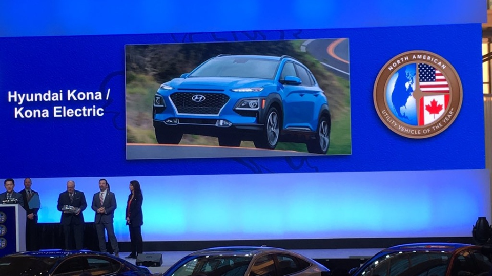 The Hyundai Konaat earned Utility of the Year at the North American International Auto Show in Detroit on Monday, Jan. 14, 2019. (CTV Windsor)