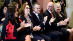Veterans Affairs Minister Jody Wilson-Raybould (left to right), Treasury Board President Jane Philpott, Indigenous Services Minister Seamus O'Regan, Justic Minister David Lametti and Minister of Rural Economic Development Bernadette Jordan attend a cabinet shuffle at Rideau Hall in Ottawa on Monday, Jan. 14, 2019. (THE CANADIAN PRESS/Sean Kilpatrick)