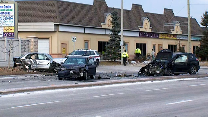 Police investigating a crash in Vaughan that left a 69-year-old woman dead on January 14, 2019.
