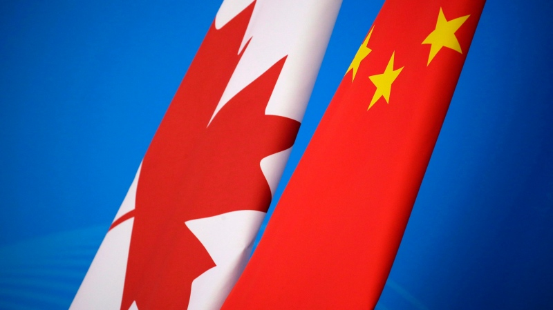 Flags of Canada and China are placed for the first China-Canada economic and financial strategy dialogue in Beijing, China, Monday, Nov. 12, 2018. THE CANADIAN PRESS/AP-Jason Lee/Pool Photo via AP