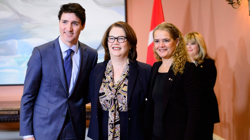 Prime Minister Justin Trudeau, Treasury Board President Jane Philpott and Gov.-Gen. Julie Payette attend a swearing in ceremony at Rideau Hall in Ottawa on Monday, Jan. 14, 2019. THE CANADIAN PRESS/Sean Kilpatrick