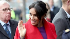 Meghan, the Duchess of Sussex arrives with Prince Harry, at the Hive, Wirral Youth Zone, as part of a visit to Birkenhead, England, Monday, Jan. 14, 2019. (Danny Lawson / Pool Photo via AP)
