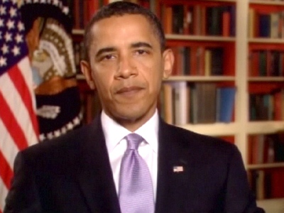 U.S. President Barack Obama speaks about Walter Cronkite's achievements, in a taped statement from the White House.