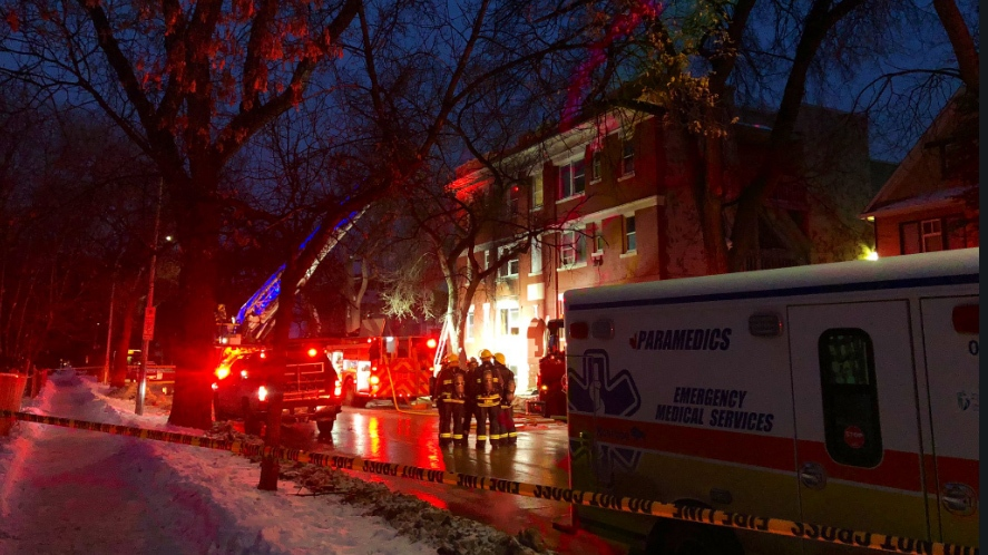 The City of Winnipeg said the Winnipeg Fire Paramedic Service went to a three-storey apartment complex in the 400 block of Maryland Street around 6:25 a.m. following the report of a fire. (Source: Alex Brown/CTV News)