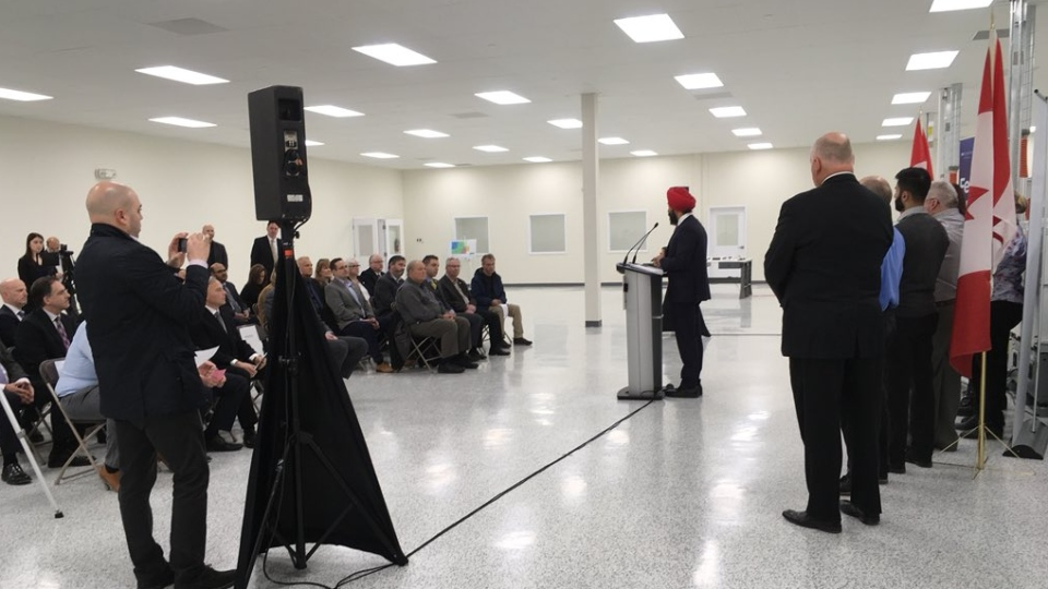 Navdeep Bains, Minister of Innovation, Science and Economic Development makes a funding announcement in Windsor, Ont., on Monday, Jan. 14, 2019. (Bob Bellacicco / CTV Windsor)
