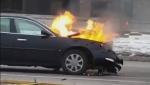 Raw: London fire crews respond to car fire