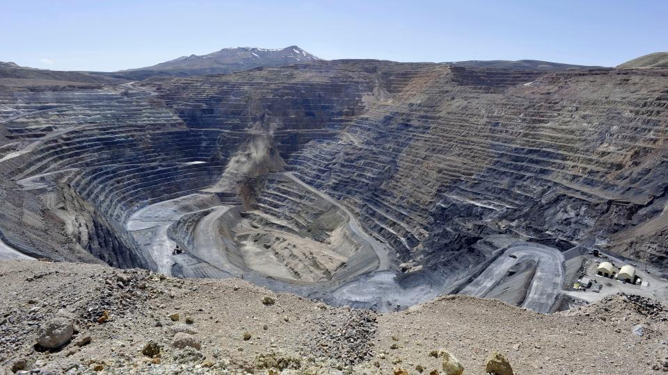 This April 4, 2012, file photo shows the Newmont Gold Quarry pit in Battle Mountain, Nev. (David B. Parker/The Reno Gazette-Journal via AP, File)
