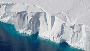 This 2016 photo provided by NASA shows the Getz Ice Shelf from 2016's Operation Icebridge in Antarctica. According to a new study published Monday, Jan. 14, 2019, in Proceedings of the National Academy of Sciences, Antarctica is melting more than six times faster than it did in the 1980s. (Jeremy Harbeck/NASA via AP)