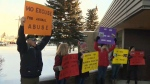 Rally at Evansburg courthouse