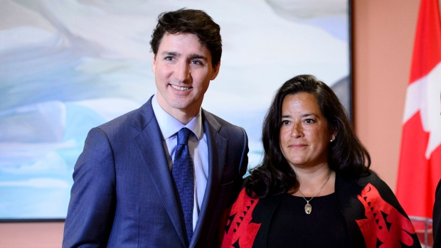 Prime Minister Justin Trudeau and Veterans Affairs Minister Jody Wilson-Raybould attend a swearing in ceremony at Rideau Hall in Ottawa on Monday, Jan. 14, 2019. THE CANADIAN PRESS/Sean Kilpatrick