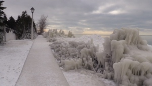 Ice coats everything along the shore of Lake Huron on Monday, Jan. 14, 2019. (Scott Miller / CTV London)