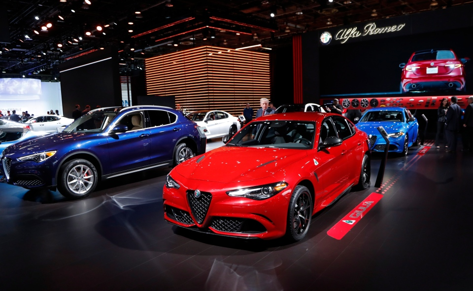 The Alpha Romero Giulia is displayed, Monday, Jan. 14, 2019, at the North American International Auto Show in Detroit. (AP Photo/Carlos Osorio)