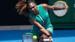 United States' Serena Williams hits a forehand return to Germany's Tatjana Maria during their first round match at the Australian Open tennis championships in Melbourne, Australia, Tuesday, Jan. 15, 2019. (AP Photo/Kin Cheung)