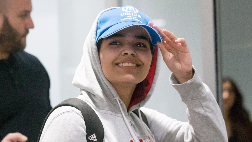Saudi teenager Rahaf Mohammed Alqunun arrives at Toronto Pearson International Airport, on Saturday, January 12, 2019.THE CANADIAN PRESS/Chris Young