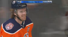 Connor McDavid in a still from the Oilers game against the Buffalo Sabres on Monday night. (SOURCE: SPORTSNET)
