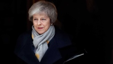 Britain's Prime Minister Theresa May leaves a cabinet meeting at Downing Street in London, Tuesday, Jan. 15, 2019. (AP Photo/Frank Augstein)