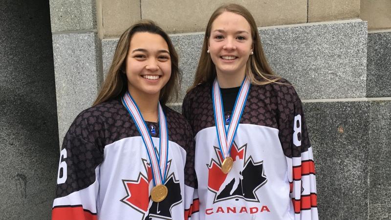 Nicole Gosling, left, and Julia Gosling, members of Canada's Under 18 hockey team, speak in London, Ont. on Tuesday, Jan. 15, 2019. (Brent Lale / CTV London)