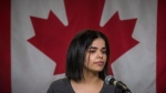 Saudi woman Rahaf Mohammed makes a public statement at the COSTI Corvetti Education Centre in Toronto, Tuesday, January 15, 2019. THE CANADIAN PRESS/ Tijana Martin