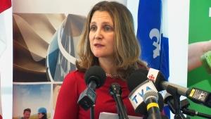 Foreign Affairs Chrystia Freeland speaks in Saint-Hyacinthe, Que., Tuesday, Jan. 15, 2019.