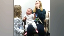 Baby hears clearly for the first time