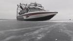 York Regional Police venture out onto Lake Simcoe on Tuesday, Jan. 15, 2019 (CTV News/Sean Grech)
