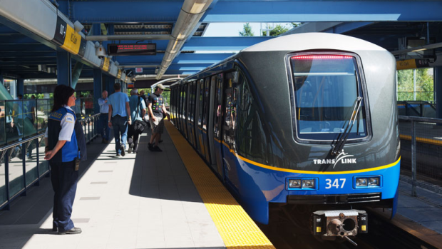 A Millennium Line train is seen at VCC-Clark station in this undated photo from TransLink.