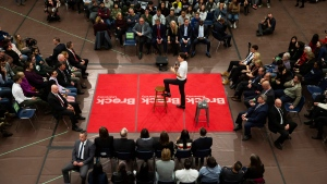Prime Minister Justin Trudeau speaks during a town hall at Brock University in St. Catharines, Ont., Tuesday, January 15, 2019. THE CANADIAN PRESS/Tara Walton